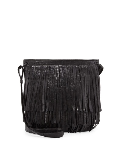 Nancy Gonzalez Crocodile Fringe Crossbody Bag, Black