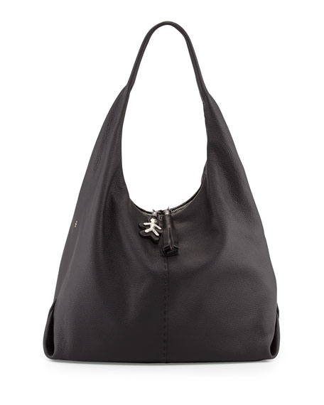 Canotta Leather Hobo Bag, Black