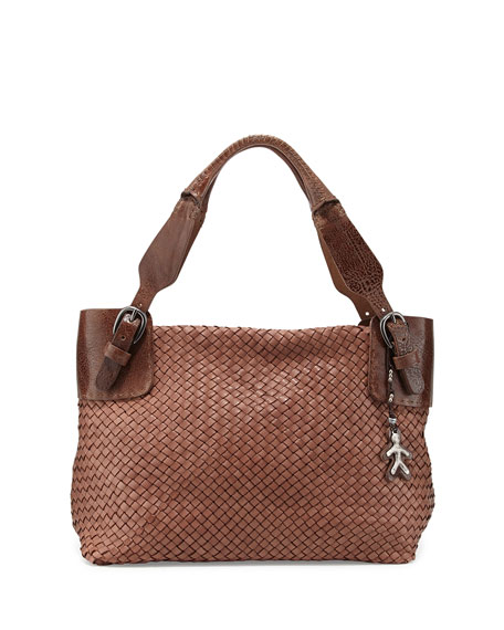 Roxanna Small Woven Tote Bag, Tan
