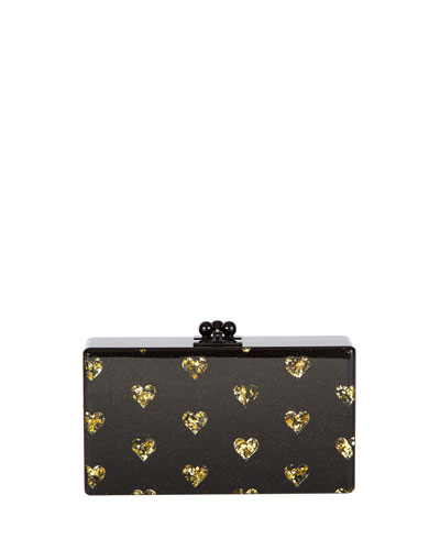 Jean Hearts Acrylic Clutch Bag, Black/Gold