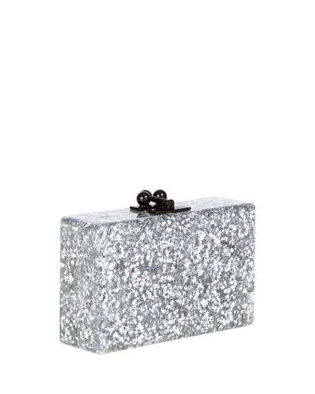 Edie Parker Minnie Star Confetti Clutch Bag, Silver