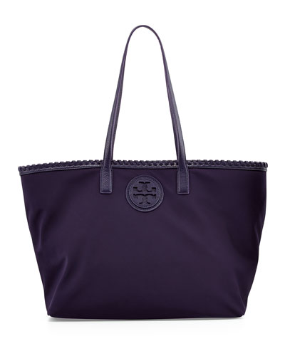 Tory Burch Marion Nylon Tote Bag, Blue Ink