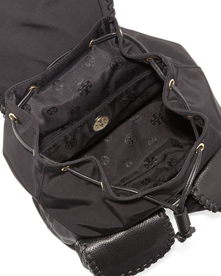 Marion Nylon Flap Backpack, Black