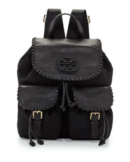 Tory Burch Marion Nylon Flap Backpack, Black