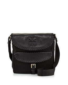 Tory Burch Marion Nylon Whipstitch Messenger Bag, Black