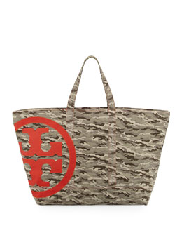Tory Burch Camo Canvas Weekend Tote, Camo/Jasper