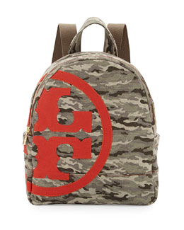 Tory Burch Camouflage Canvas Logo Backpack
