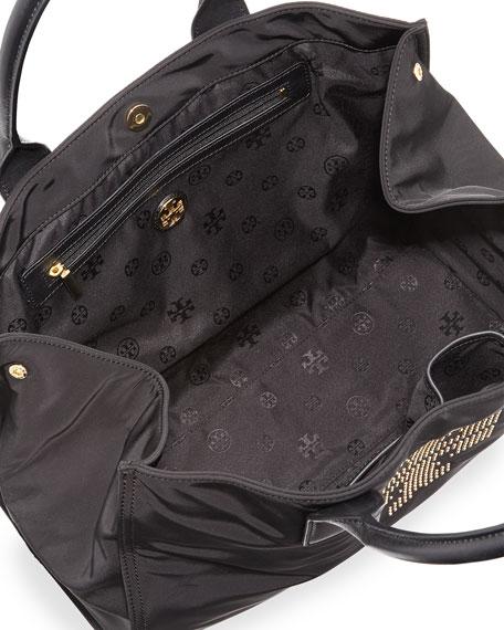 Ella Studded Nylon Tote Bag, Black