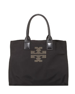 Tory Burch Ella Studded Nylon Tote Bag, Black
