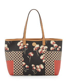 Tory Burch Kerrington Mixed-Print Shopper Bag