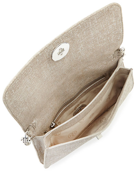 Adalyn Brushed Metallic Clutch Bag, Silver