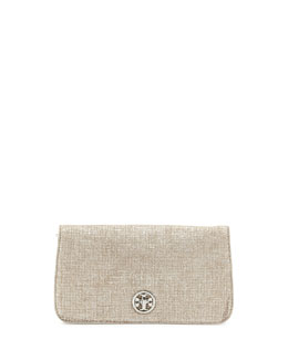 Tory Burch Adalyn Brushed Metallic Clutch Bag, Silver