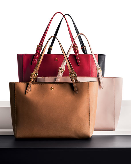 York Saffiano Leather Tote Bag, Light Oak