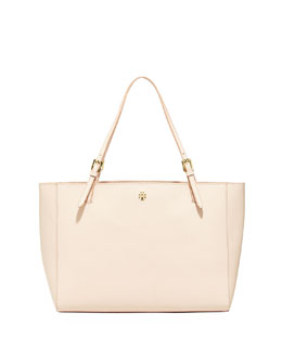 Tory Burch York Saffiano Leather Tote Bag, Light Oak