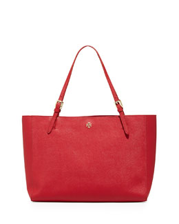 Tory Burch York Saffiano Leather Tote Bag, Poppy Orange