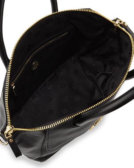 Clara Leather Satchel Bag, Black