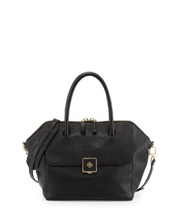 Tory Burch Clara Leather Satchel Bag, Black