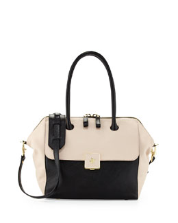 Tory Burch Clara Bicolor Satchel Bag, Black/Light Oak
