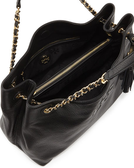 Thea Large Chain Tote Bag, Black
