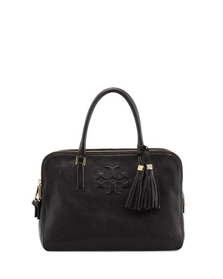 Thea Triple-Zip Satchel Bag, Black