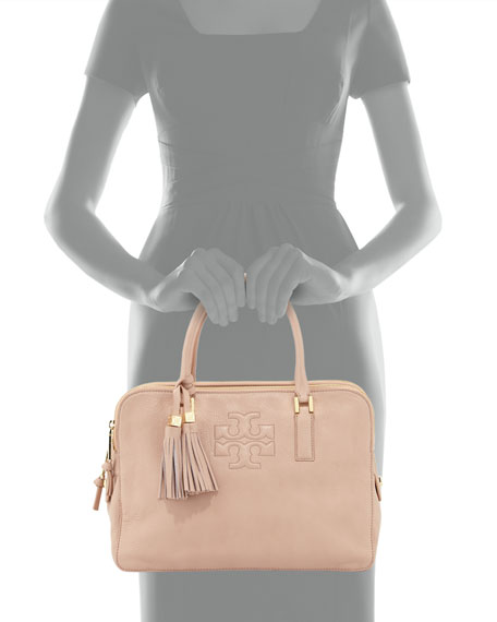 Thea Triple-Zip Leather Tote Bag, Porcelain Pink