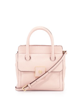 Tory Burch Clara Small Pebbled Tote Bag, Light Oak