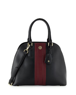 Tory Burch Robinson Stripe Open-Top Dome Satchel Bag, Black