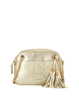 Tory Burch Thea Pebbled Crossbody Bag, Light Gold