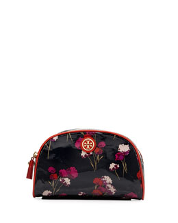 Tory Burch Field Flowers Coated Cosmetic Case, Black