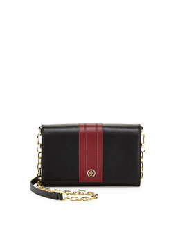 Tory Burch Robinson Stripe Wallet-on-Chain, Black