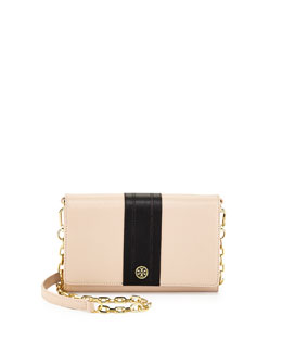 Tory Burch Robinson Stripe Wallet-on-a-Chain, Light Oak