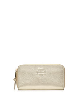 Tory Burch Thea Metallic Continental Zip Wallet, Light Gold