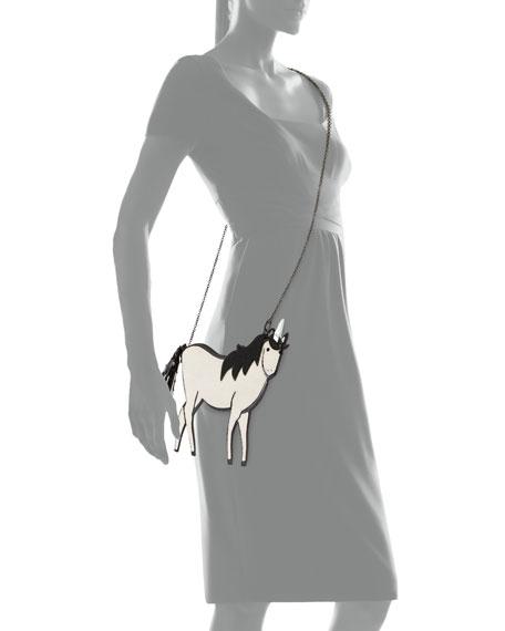 Caviar-Beaded Unicorn Pouch Clutch Bag, Ivory