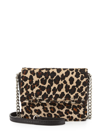 Mini Clee Leopard-Dyed Calf Hair Crossbody Bag, Natural Brown