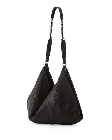 Claudia Leather Crossbody Duffel Bag, Black