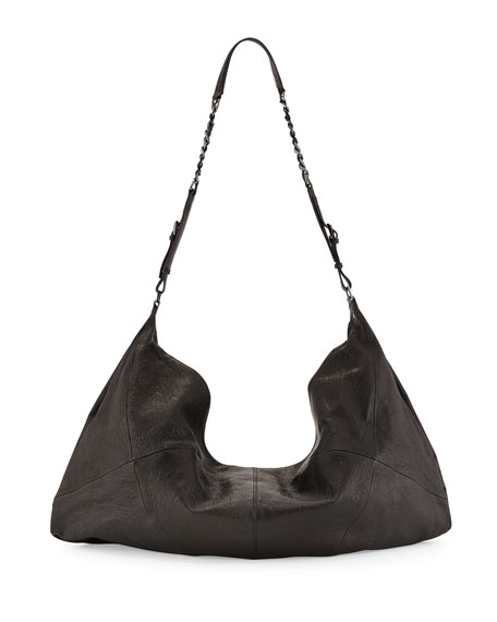 Claudia Leather Crossbody Duffel Bag, Black