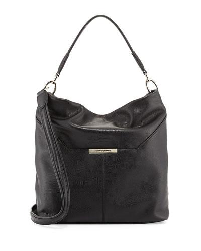 Le Foulonne Leather Hobo Bag, Black