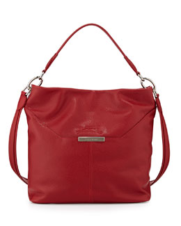 Le Foulonne Leather Hobo Bag, Vermillion