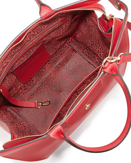 Le Pliage Heritage Saffiano Leather Satchel Bag, Carmine
