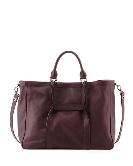 3D Large Leather Tote Bag, Bilberry