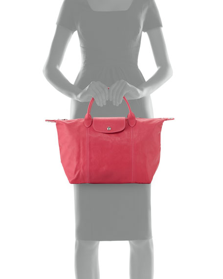Le Pliage Cuir Handbag with Strap, Pink Candy