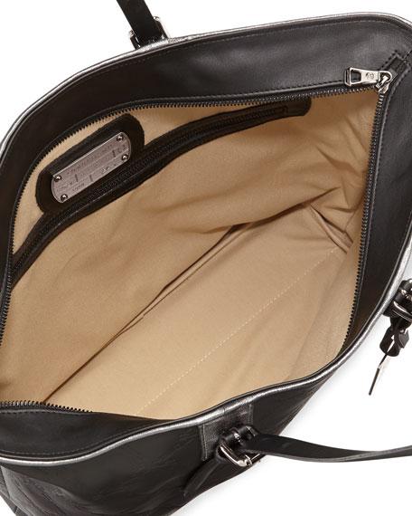 LM Cuir Leather Shoulder Tote Bag, Black
