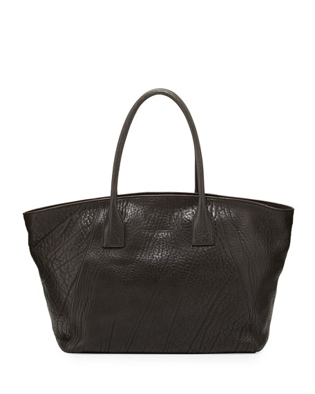 Hammered Leather Tote Bag, Dark Gray