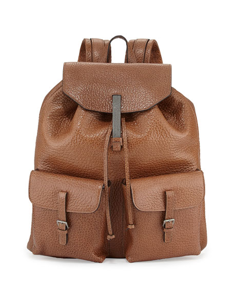 Distressed Shiny Leather Backpack
