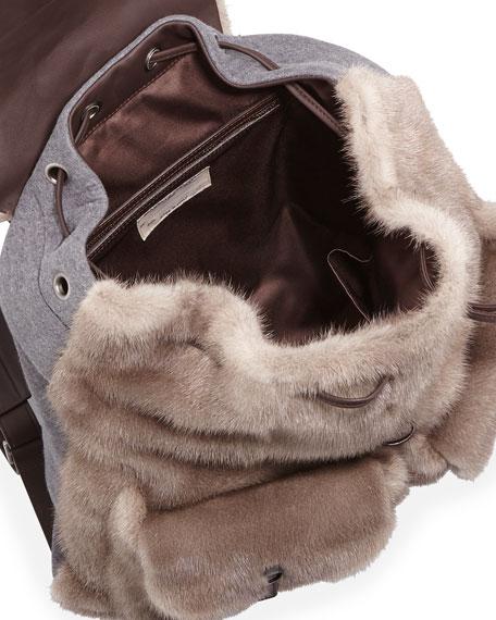 Mink Fur Backpack, Brown