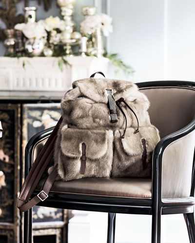 Brunello Cucinelli Mink Fur Backpack, Brown