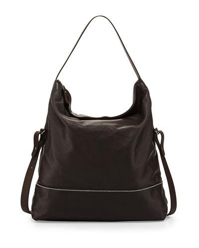 Brunello Cucinelli Leather Hobo Crossbody Bag, Black