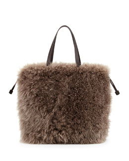 Brunello Cucinelli Cashmere Fur Shopping Bag, Brown