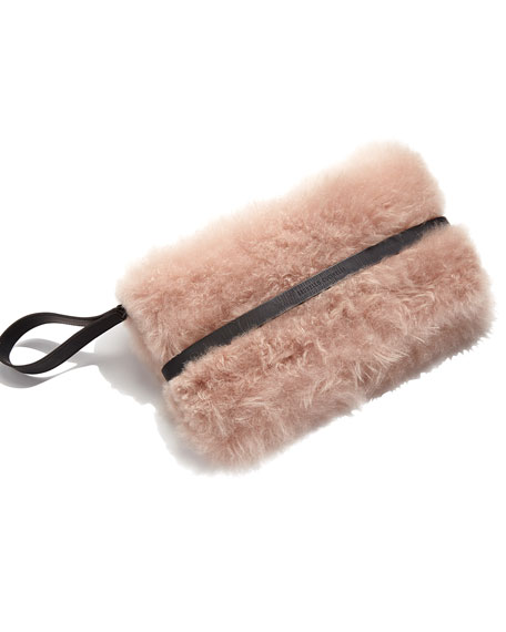 Cashmere Fur Clutch Bag, Light Pink
