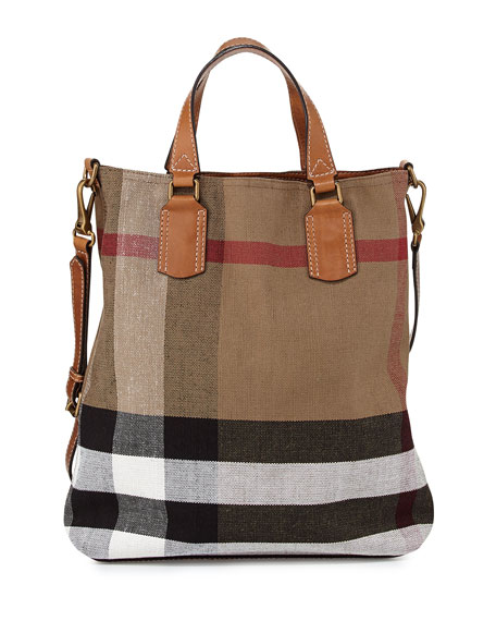 Burberry Brit Check Canvas Medium Tote Bag, Saddle Brown